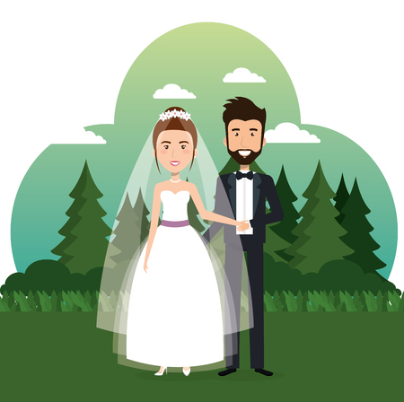 just married couple in the field vector illustration design