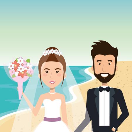 Juste couple marié dans la plage illustration vectorielle design Banque d'images - 98316435