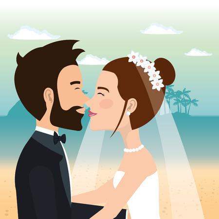 Juste couple marié dans la plage illustration vectorielle design Banque d'images - 98316710