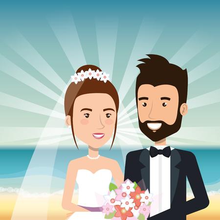 Juste couple marié dans la plage illustration vectorielle design Banque d'images - 98316706