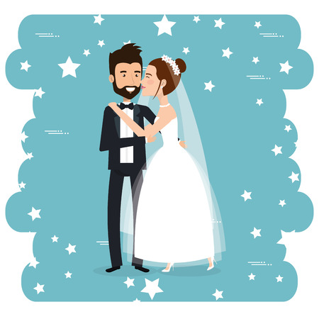 romantic picture of just married couple vector illustration design  イラスト・ベクター素材