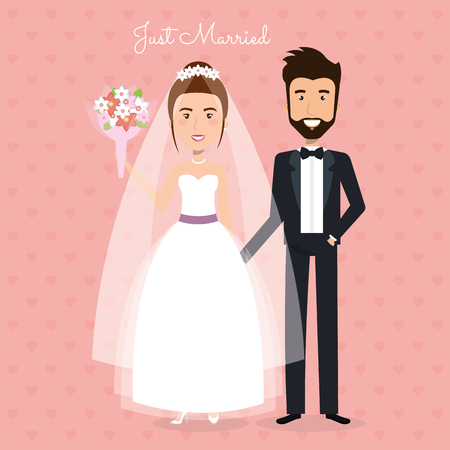 romantic picture of just married couple vector illustration design Illustration