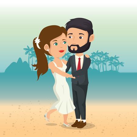 Juste couple marié dans la plage illustration vectorielle design Banque d'images - 98316724