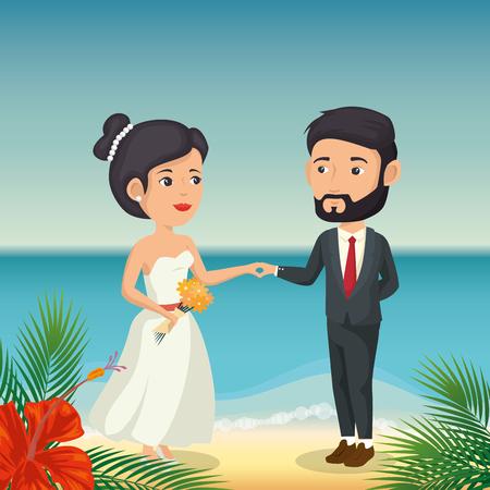 Juste couple marié dans la plage illustration vectorielle design Banque d'images - 98183457