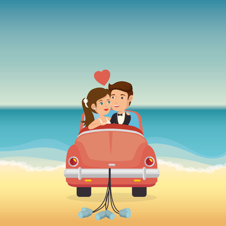just married couple in the beach with car vector illustration design