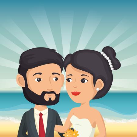 Juste couple marié dans la plage illustration vectorielle design Banque d'images - 98265655