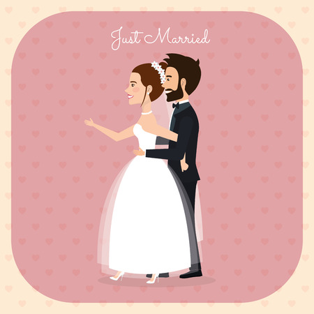 Just married couple romantic image vector illustration design