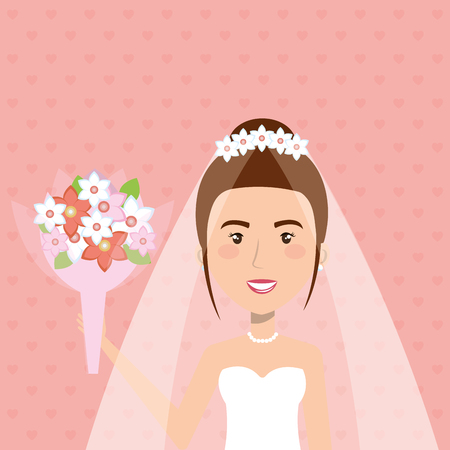 A just married woman character with bouquet of flowers vector illustration design Illustration