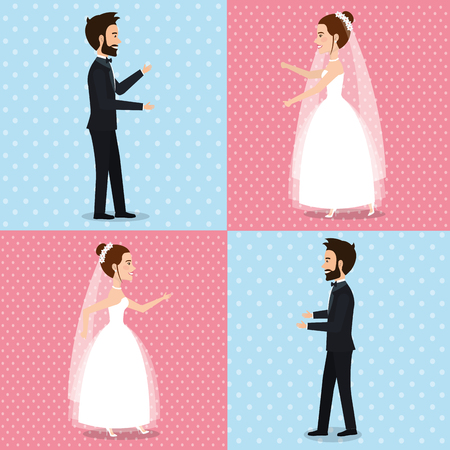 Just married couple set of pictures vector illustration design.