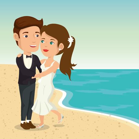 Juste couple marié dans la plage illustration vectorielle design Banque d'images - 98265659