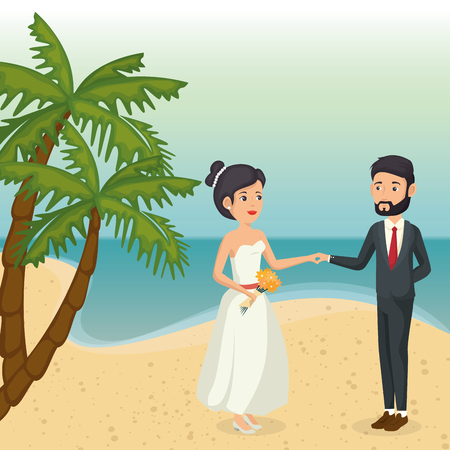 Just married couple in the beach vector illustration design Illustration