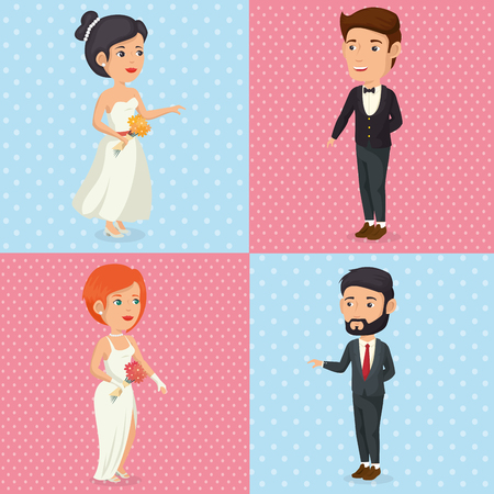 Set of bride and groom characters posing vector illustration design