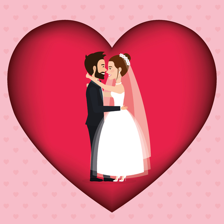 romantic picture of just married couple in heart vector illustration design
