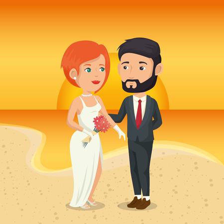 Juste couple marié dans la plage illustration vectorielle design Banque d'images - 98183465