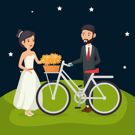 just married couple in the field with bicycle vector illustration design