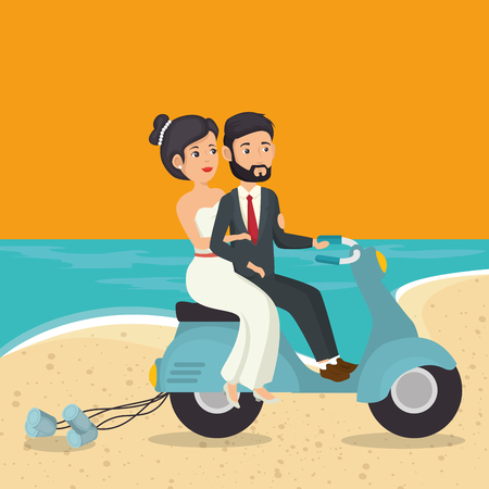 Just married couple riding motorcycle in the beach vector illustration design