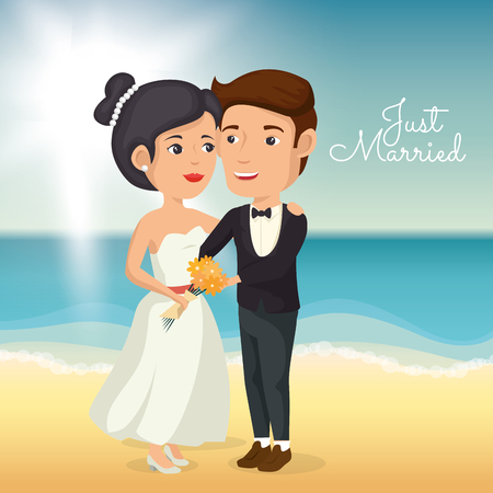 Just married couple in the beach vector illustration design Çizim