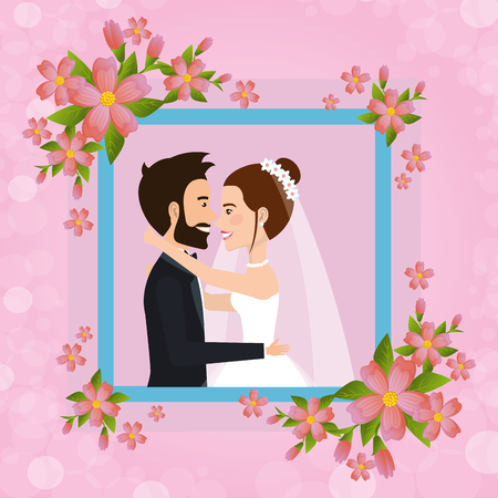 romantic picture of just married couple with floral frame vector illustration