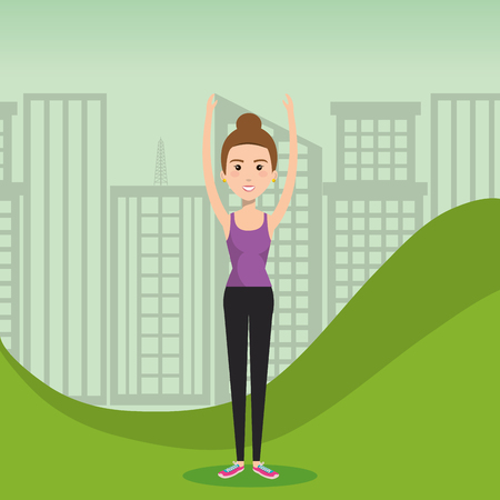 Woman exercising in the field vector illustration design