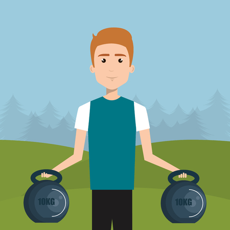man weight lifting in the field vector illustration design Illustration