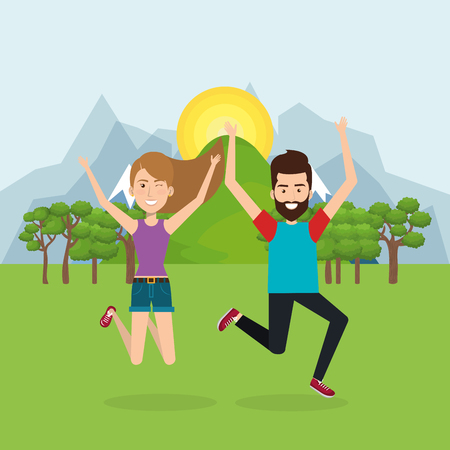 people celebrating in the field vector illustration design