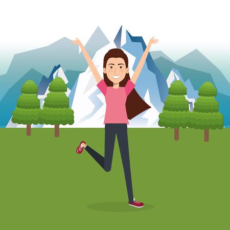woman celebrating in the field vector illustration design