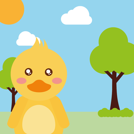 cute animal duck cartoon landscape trees clouds vector illustration Illustration