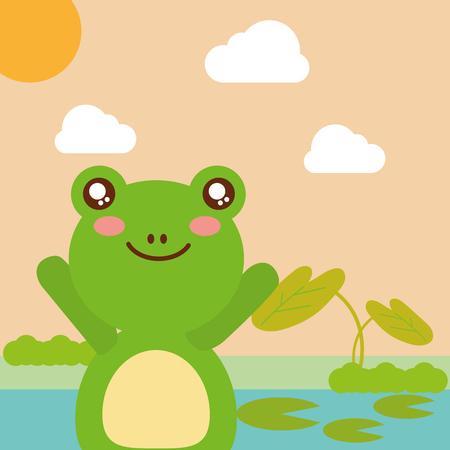 cute animal frog pond leaves natural cartoon vector illustration Ilustração