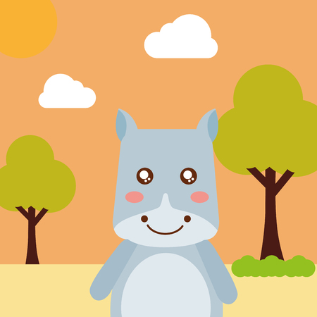 cute animal hippo cartoon landscape trees clouds vector illustration