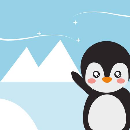 cute penguin animal cartoon landscape north pole vector illustration Illustration
