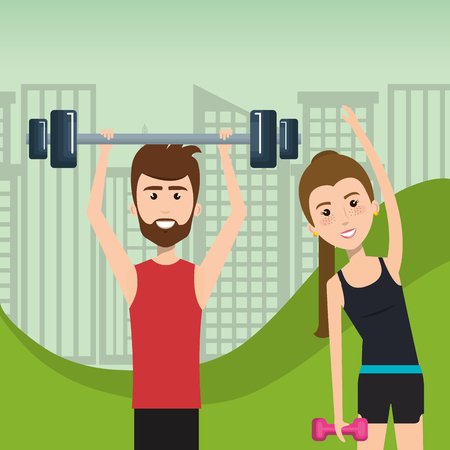 people weight lifting in the field vector illustration design Illustration