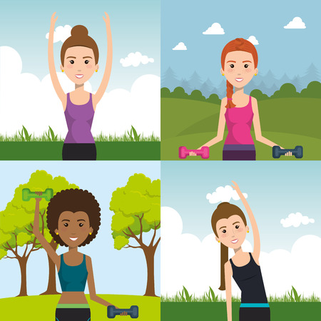 people weight lifting in the field vector illustration design
