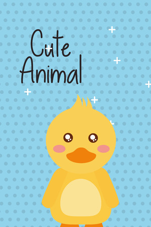 cute animal duck cartoon bright background vector illustration Çizim