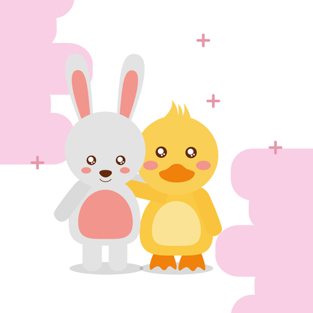 cute animal rabbit duck colored background vector illustration