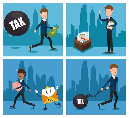 businessman with tax set icons vector illustration design Stock Illustratie