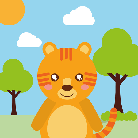 cute animal tiger cartoon landscape trees clouds vector illustration Illustration