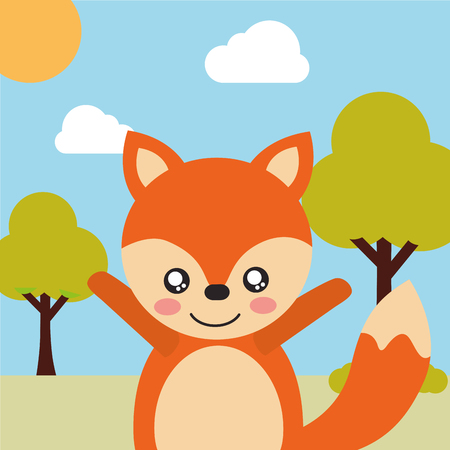 cute animal fox cartoon landscape trees clouds vector illustration