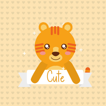 cute animal tiger ribbon shiny background vector illustration