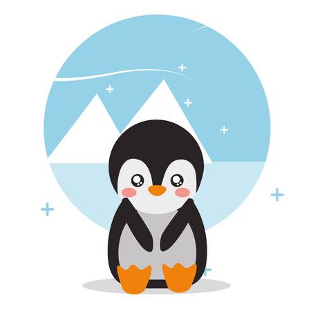 cute penguin sit with landscape glacier snowy vector illustration