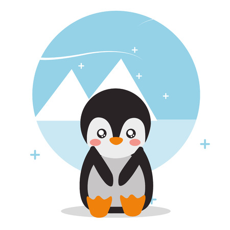 cute penguin sit with landscape glacier snowy vector illustration