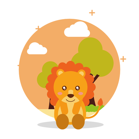 cute lion sit with landscape trees natural vector illustration