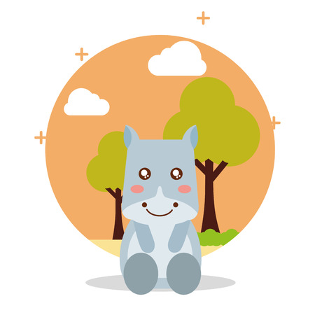cute hippo sit with landscape trees natural vector illustration Ilustração