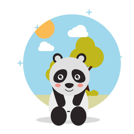 cute panda sit with landscape trees natural vector illustration Illustration