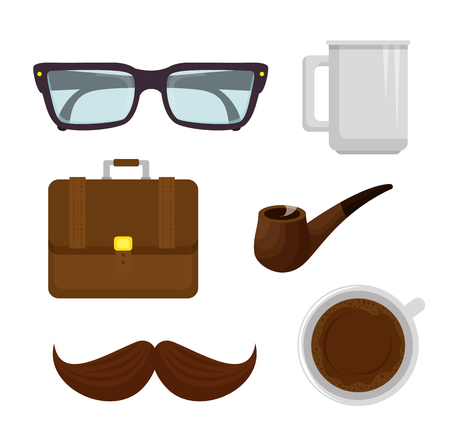 happy fathers day set accessories icons vector illustration design Çizim