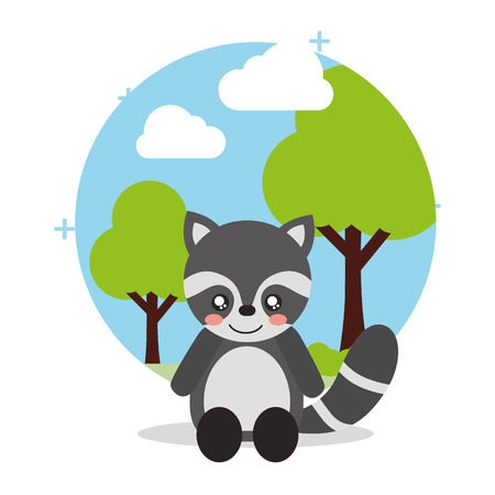 cute raccoon sit with landscape trees natural vector illustration