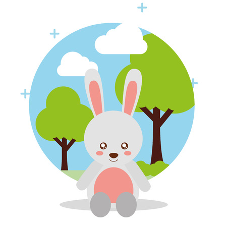 cute rabbit sit with landscape trees natural vector illustration Ilustração