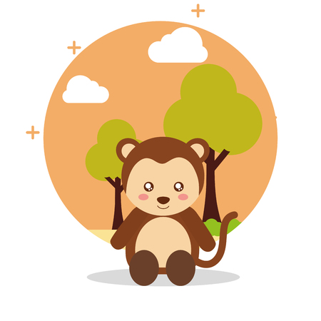 cute monkey sit with landscape trees natural vector illustration Illustration