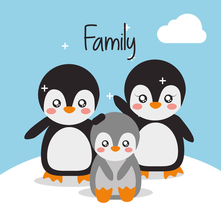 cute animals penguin family in winter landscape vector illustration