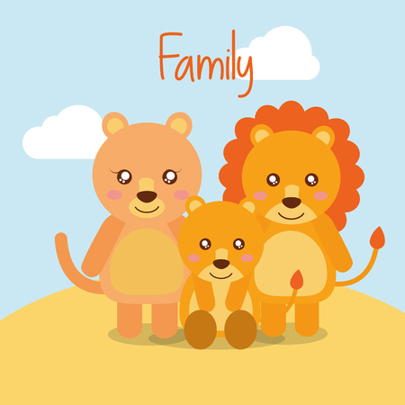 cute animals lion family in desert field vector illustration