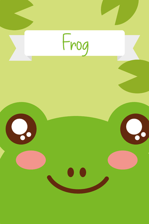 cute animal head frog ribbon decoration vector illustration Vectores